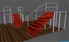 3D cad construction plan stairs platforms.