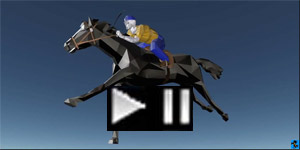 3D cad racehorse with jockey rider
