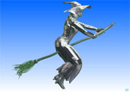 3D witch on broom