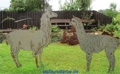 Garden stakes sheet steel llama and alpaca height 150cm.