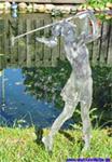 Garden stakes steel sheet female golf player height 85cm.