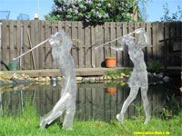 Garden stakes steel sheet golf player masculine and female height 85cm.