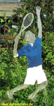 Garden stakes steel sheet tennis player colored height 85cm.