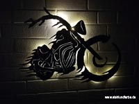 Led wall painting motorcycle metal, backlit, height 40cm x width 70cm.