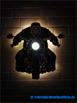 Metal wall picture Harley Davidson Biker, backlit, with headlights dimmable behind lit up.