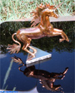 Copper sculpture unicorn