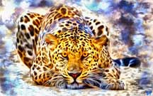 Digital paintings hunting-leopard.