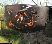 fire-bowl with 5 various dragon motives.