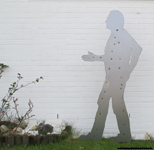 Garden stakes metal-sheet blank lifesize persons-shilouette.