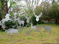 garden stakes metal sheet forest.
