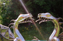 The steel dragons in the garden.