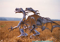 The steel dragons on the stubble field.