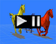 Running 3D CAD abstract rgb horses